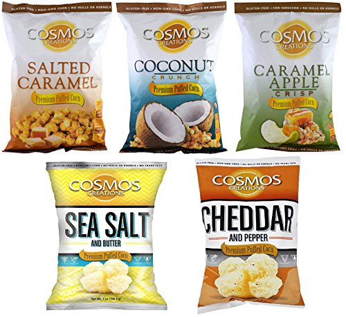 Cosmos Creations Premium Puffed Corn Sweet & Savory Variety Pack, 10 Bags (2 each flavor)