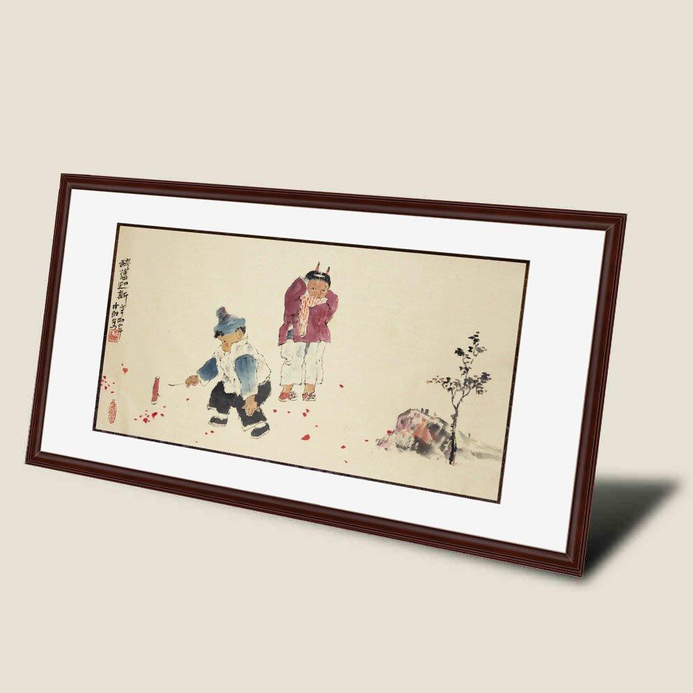 适合做小�9lzgh��9f�x�_锦翰堂 中琳 国画人物《辞旧迎新》写意人物画 两小孩