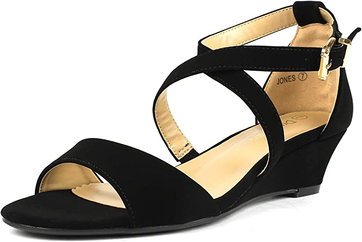 Ankle Strap Low Wedge Sandals: Amazon