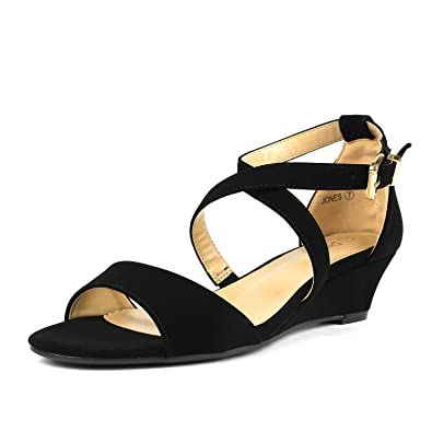 23733850334b DREAM PAIRS Women s Jones Black Nubuck Low Wedge Pump Sandals Size 5 ...