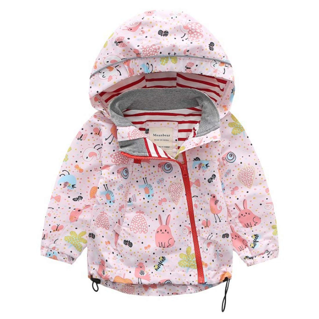 Aiweijia 2-8 Years Girls Childrens Hooded Sports Raincoat Jacket Waterproof