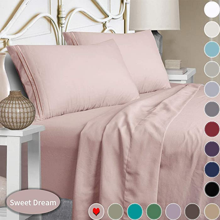 Mejoroom Bed Sheets Set,Extra Soft Luxury Egyptian Sheets with 15-inch Deep Pocket,Premium Bedding Collection - Breathable Wrinkle Fade Stain Resistant Hypoallergenic - 4 Piece (Full, Dusty Pink)