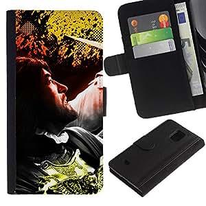 """A-type (Hombre"""") Colorida Impresión Funda Cuero Monedero Caja Bolsa Cubierta Caja Piel Card Slots Para Samsung Galaxy S5 Mini (Not S5), SM-G800"""
