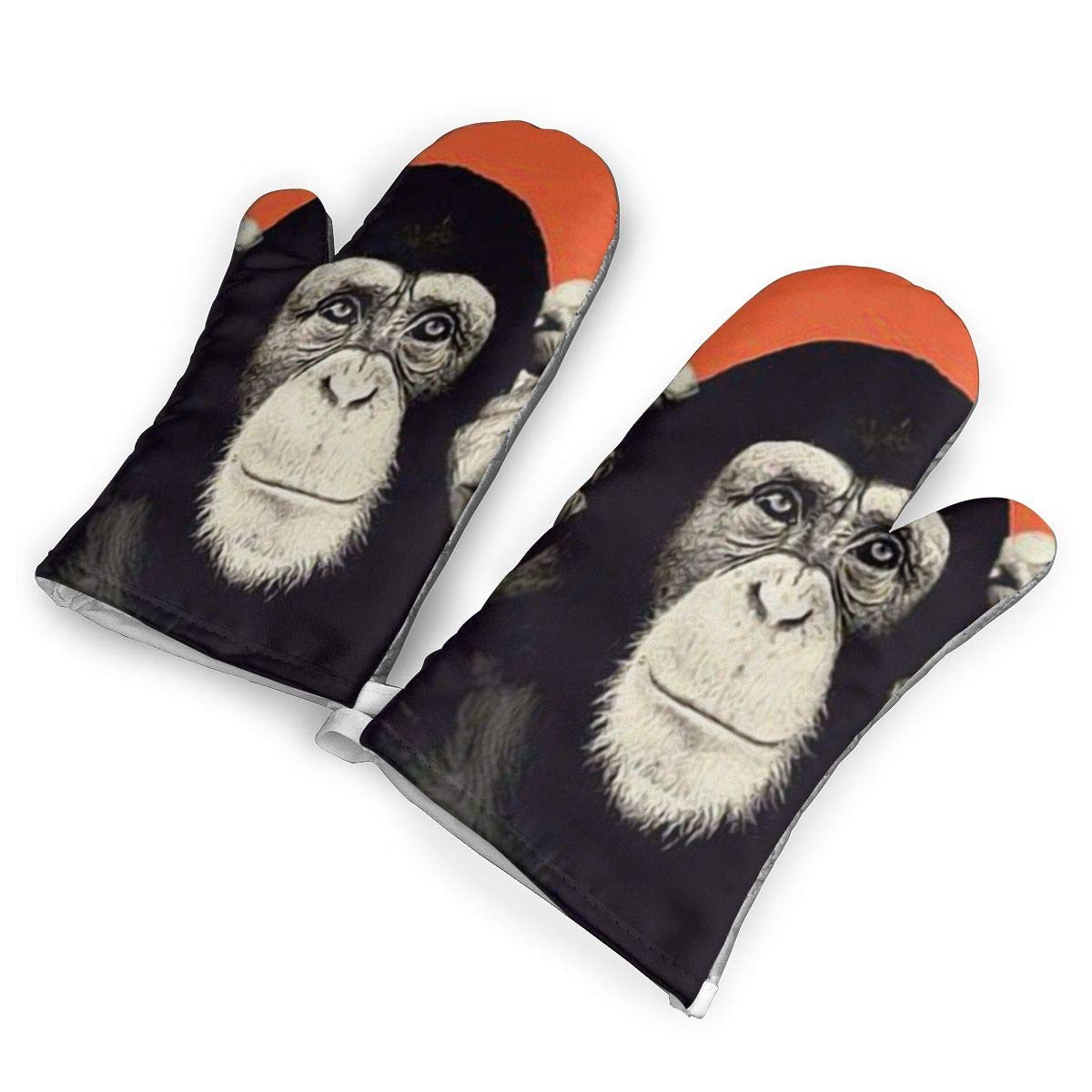 Victoria-Ai Cute Gorilla Face Orange Oven Mitts Premium Heat Resistant Kitchen Gloves Non-Slip Easy to Use Baking Mittens for BBQ/Cooking/Grilling
