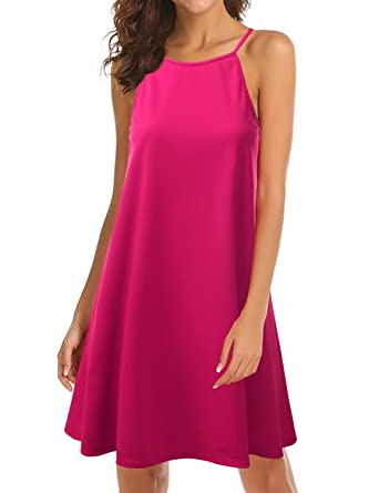 6ee201afeb8 Doublju Square Neck Halter Neck Swing Dress for Women with Plus Size  Fuchsia 3XL