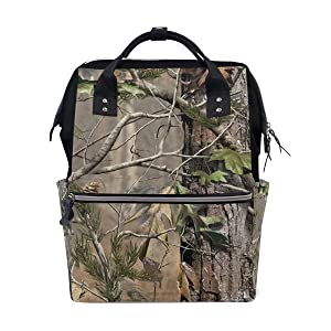 LALATOP Realtree Camouflage Pattern Printing Diaper Bag Backpack Travel Mummy Nappy Bags, Large Capacity and Multi-Function Stylish and Durable Nursing Bag