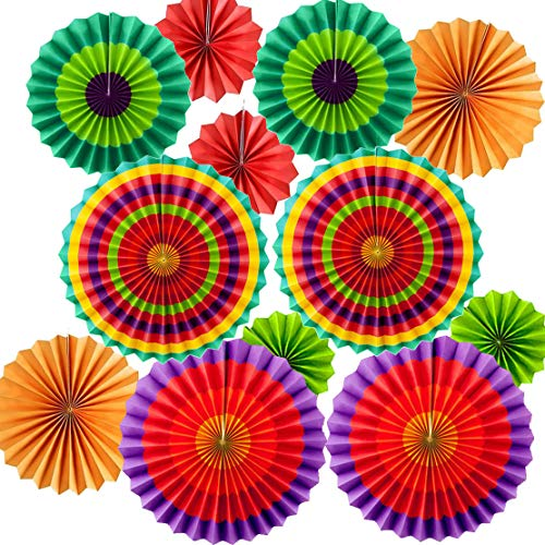 Set of 12 Vibrant Colorful Hanging Paper Fans Rosettes Party Decorations Fiesta Party Supplies Photo Props for Cinco De Mayo Carnival Mexican Kids Party Birthday Baby Shower, Multi-Color from Lansian