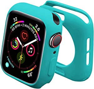 Sunkeyou Soft TPU Case for Watch Series 5/4 40mm 44mm, Series 3/2 38mm 42mm Shockproof Flexible Thin Lightweight Bumper Cover Protector for Smartwatch (Series 3/2 38mm,Mint Green)