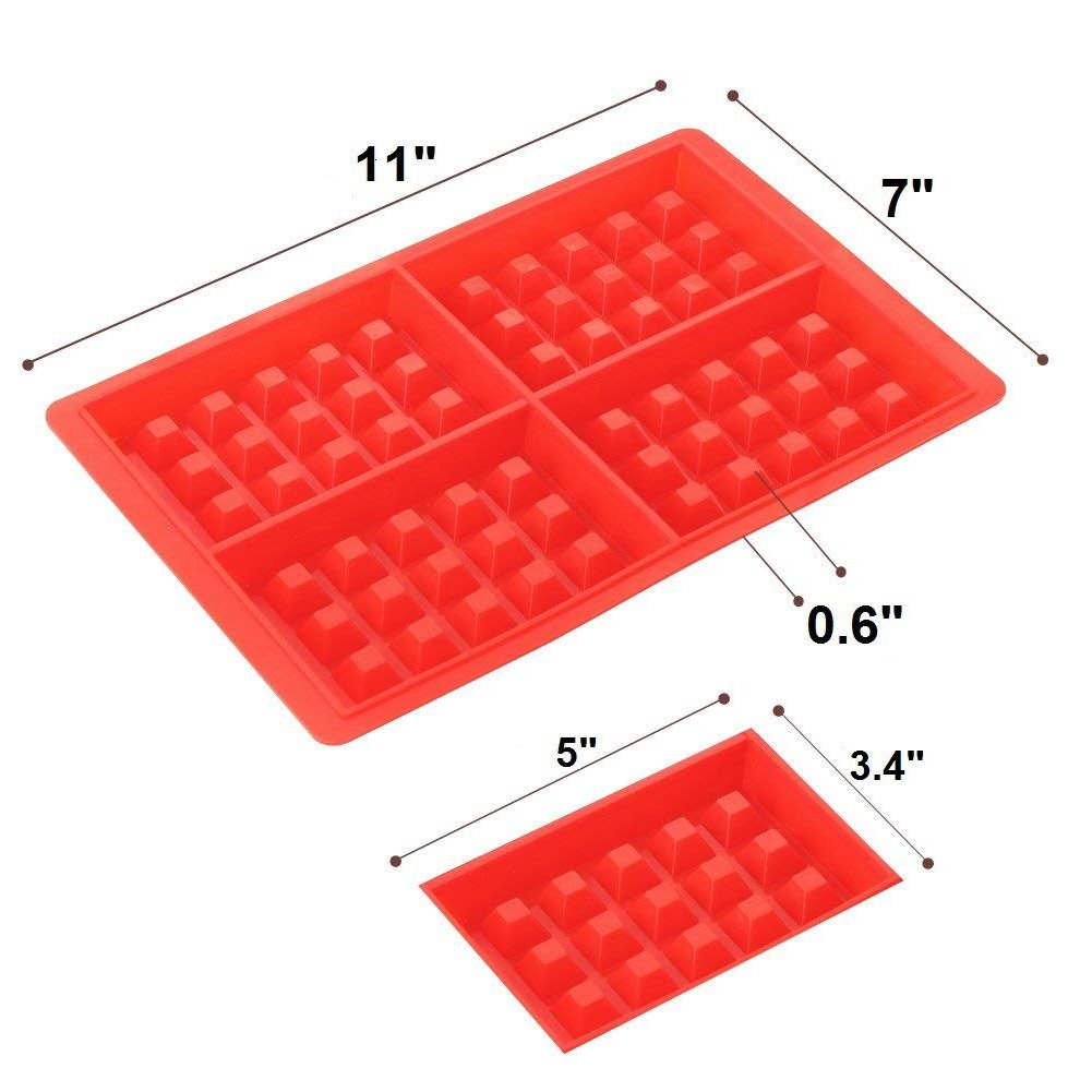 MOWANG Kitchen Baking Set Silicone Waffle Mold Cake Mold Square Shape Heart Shape Set of 2 Red Color