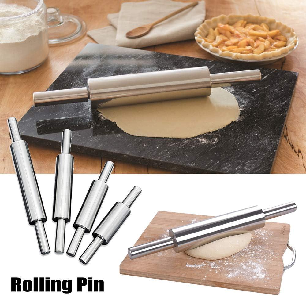WLKK Rodillo de acero inoxidable Pasta antiadherente Rodillo de masa Hornear Pizza Pastel de galletas Herramienta para hacer accesorios de cocina