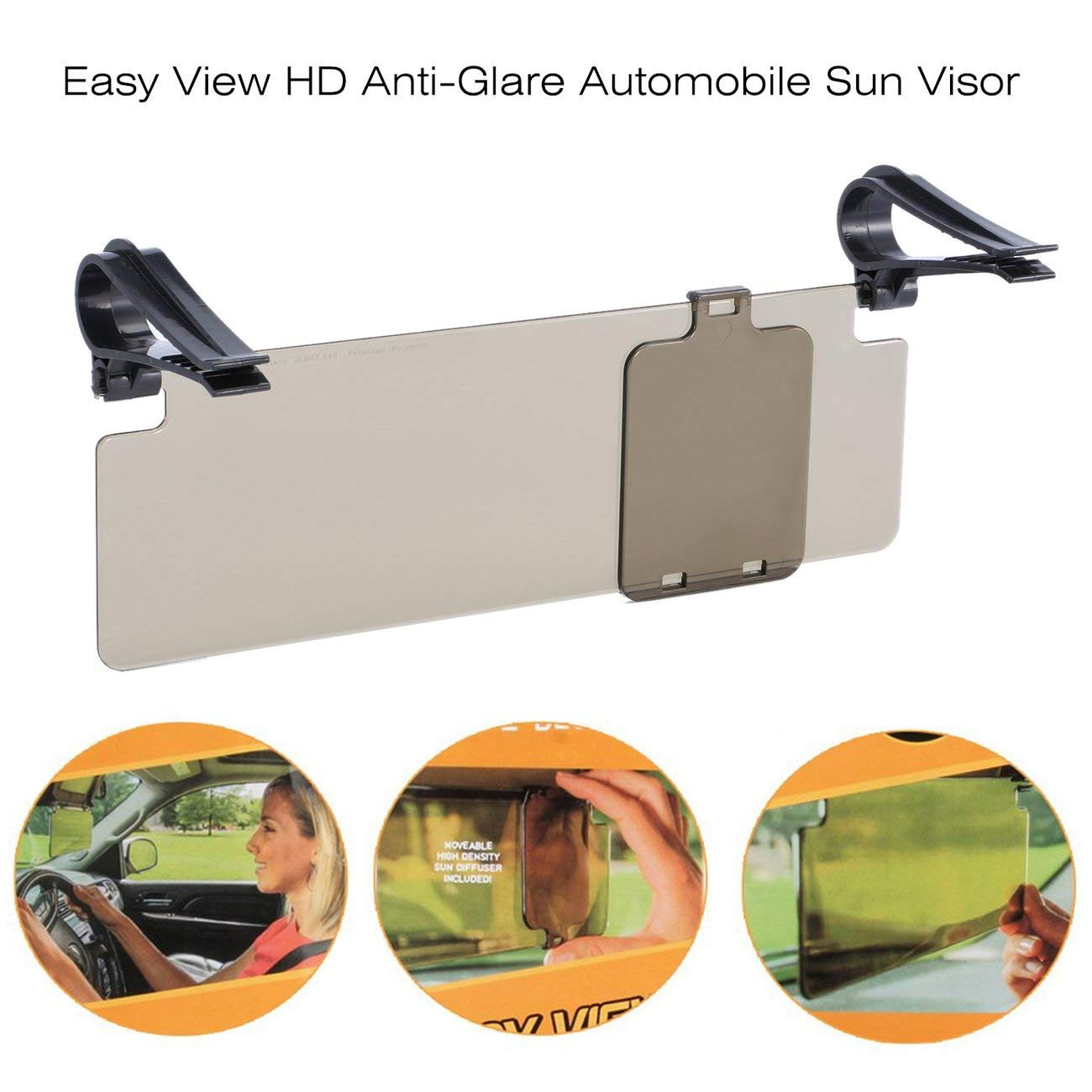 HD Car Sun Visor Goggles for Driver Day Night for Anti-Glare uv Blocker Anti-Dazzle Mirror Car Clear View Dazzling Goggles Grey -MENYUNYIJI