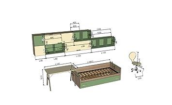 Giessegi bit chambre pour enfants avec lits et bureau bois hêtre