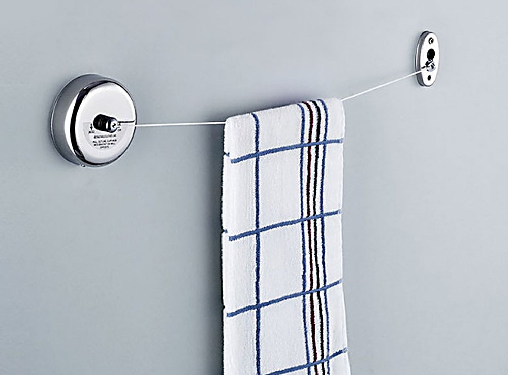 Retractable Silver Laundry Clothesline for Shower Room Bathroom Laundry, Office, kitchen and Livingroom / Stainless Steel Clothing Line Dryer Wall Mounted Adjustable Drying Line String Hotel Style by Idea Hanger