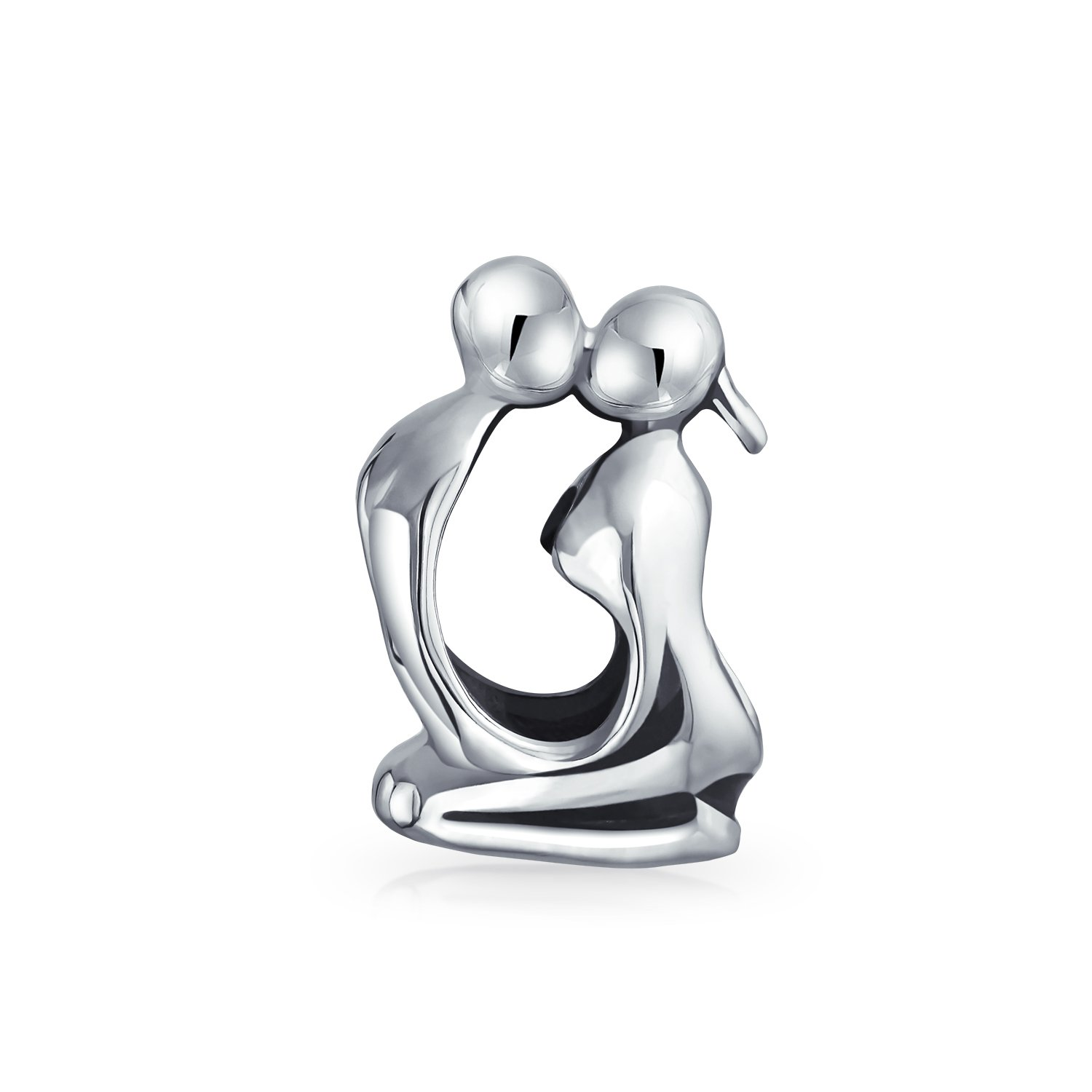Bling Jewelry Kissing Couple Love Bead Charm .925 sterling Silver PBX-HS-678