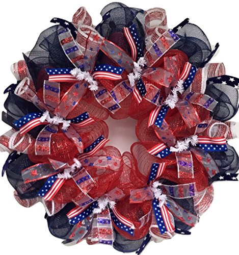Patriotic Ribbon Deco Mesh Wreath with Long, Willowy Ribbons large 24 inch diameter