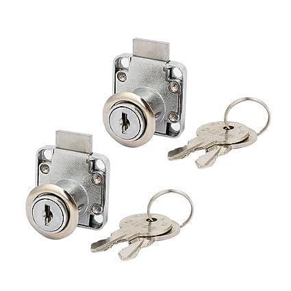 sourcingmap® Cajón Tubular Cerradura 16mmx20mm cilindro 2pcs Armario de seguridad armario Buzón