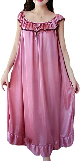 Womens Silk Satin Nightdress Sleepdress Summer Sleepwear Nightgowns Homewear New