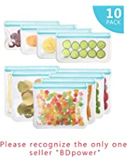 Reusable Sandwich & Snacks Bags, Reusable Ziplock Storage Bags Freezer Safe, Extra Thick PEVA Material BPA/Plastic Free Bags for Lunch, Snacks, Toiletries, Make-up