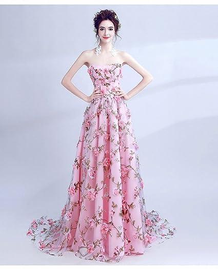 DIDIDD Hecho a Mano Tridimensional de Hadas de Flores Rosa Novia con Rayas Vestido de Novia