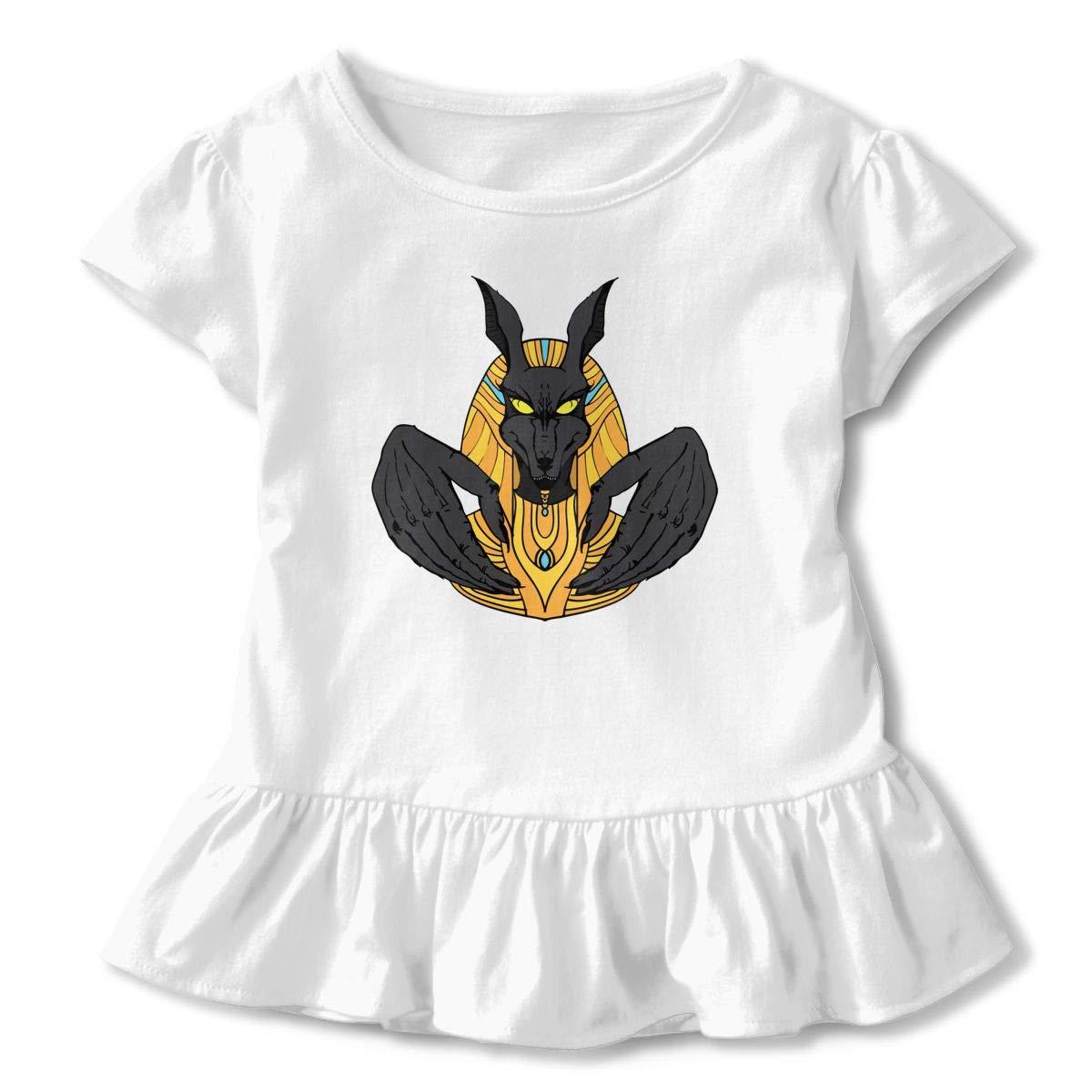 Anubis Werewolf Art Egypt God Toddler Baby Girls Short Sleeve Ruffle T-Shirt