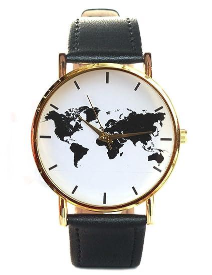 Reloj de cuarzo con mapa del mundo para hombre y mujer, color negro: Amazon.es: Relojes