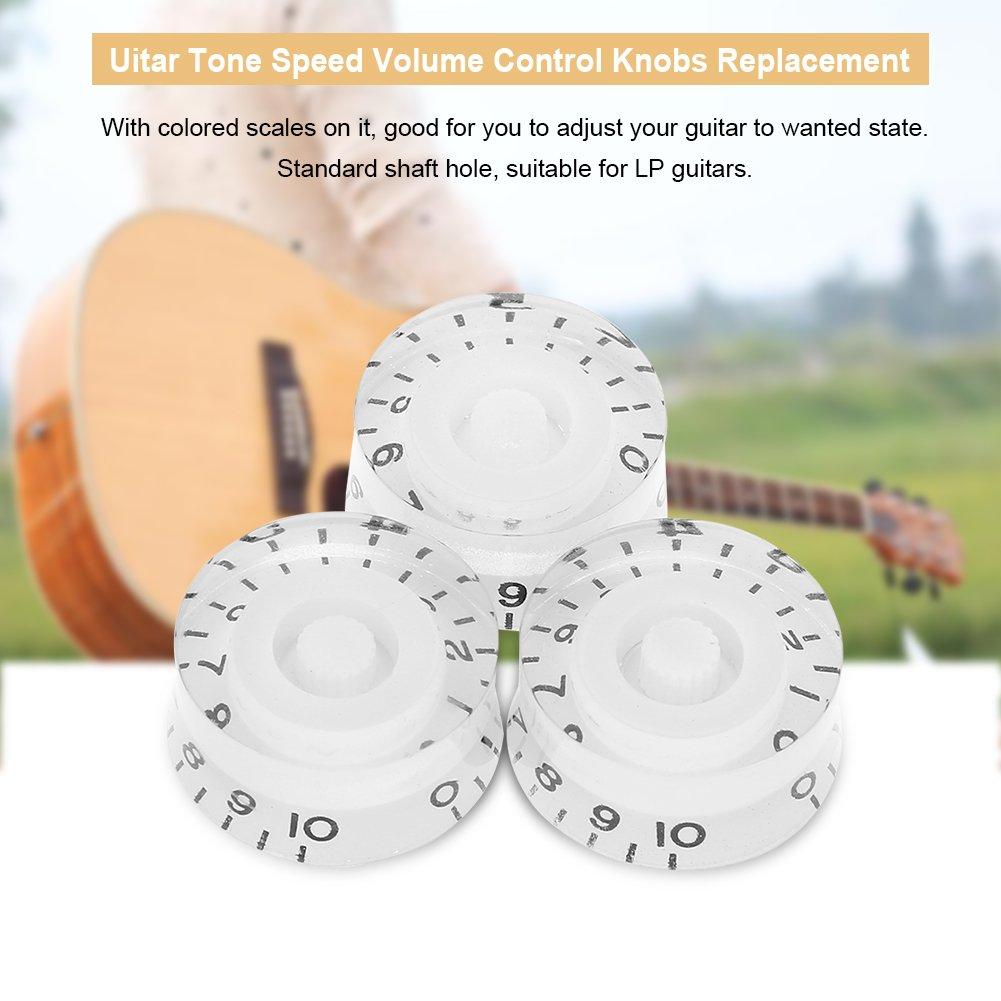 Drfeify Perillas de Guitarras El/éctricas 4 Piezas Perillas de Control de Volumen de Velocidad de Tono de Guitarra Les Paul
