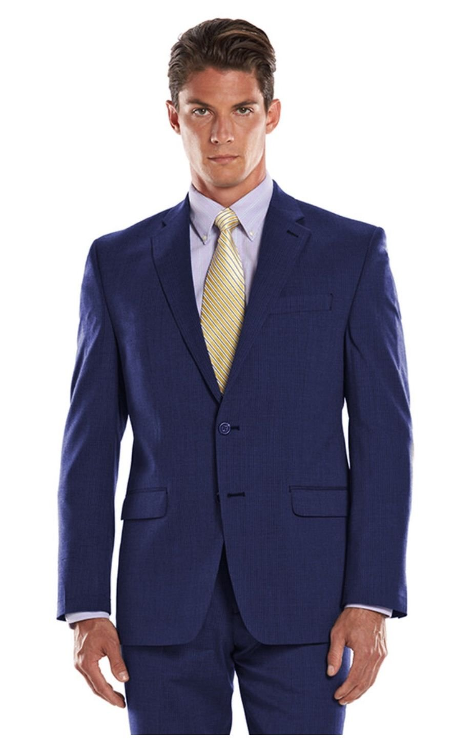 Chaps Men's Fine Pin StripePerformance Classic-Fit Wool-Blend Comfort Stretch Suit Jacket (40 Regular, Navy)