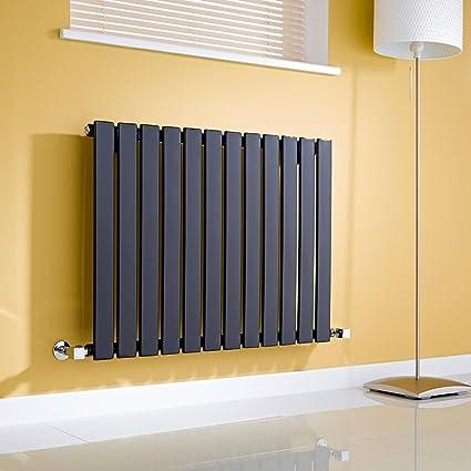 Hudson Reed - Moderno Radiador Diseño Horizontal Ultra Plano en Acero (Negro Satinado) -