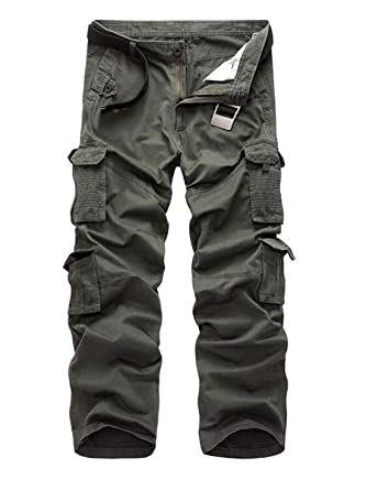 complete range of articles online best quality for JXG Men Loose Solid Casual Outdoor Multi-Pockets Oversized ...
