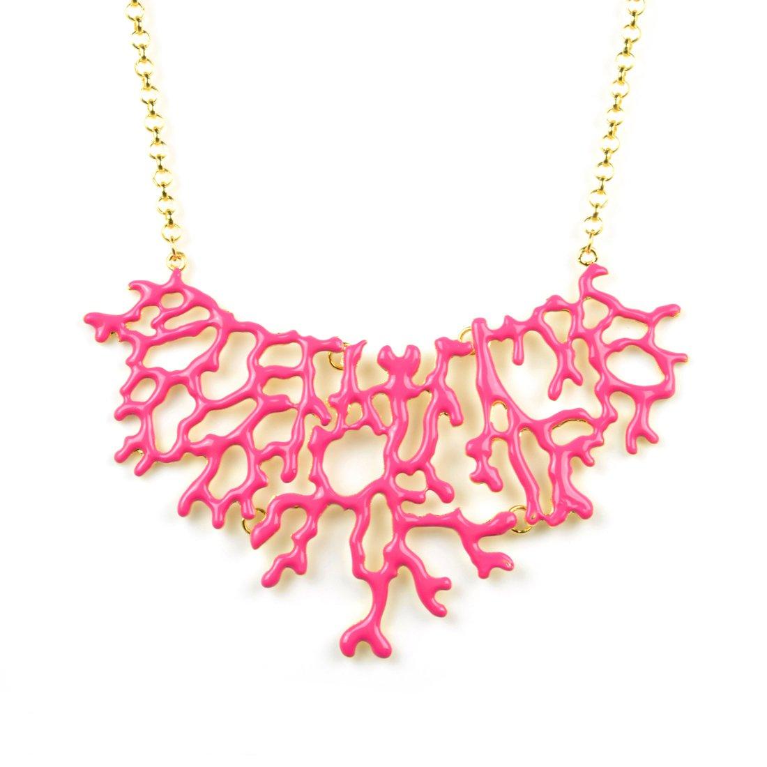 Huan Xun Women's Enamel Coral Branch Summer Bib Necklace (A Hot Pink)