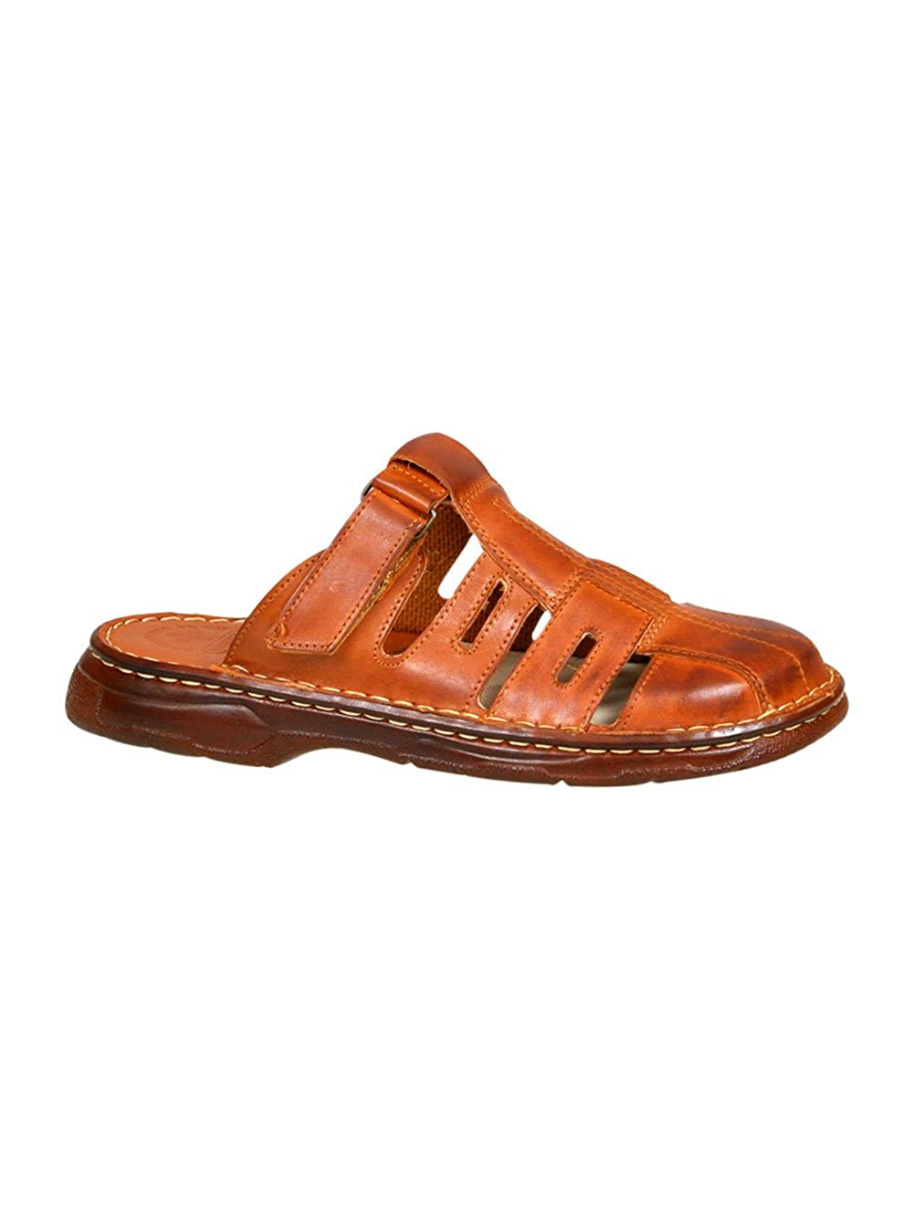 Sandales De Type Mule Pour Homme Chaussures Confortables En Cuir Naturel De Bison De Forme Orthopedique Modele 862