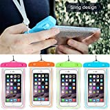 Tool Gadget Universal Fluorescent Waterproof Phone Bag Pouch, 4-Pack Outdoor Dry Pouch for Cell Phone, Smart Phone, Stuff