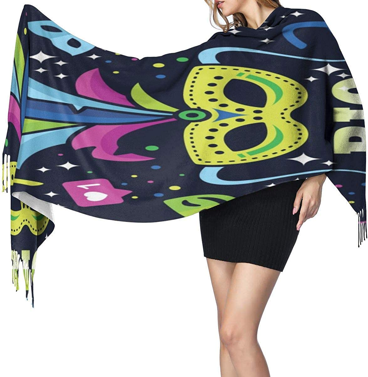 Mardi Gras Mask Feather Hat Warm Soft Cashmere Shawl Wrap Scarves Long Scarves For Women Office Worker Travel