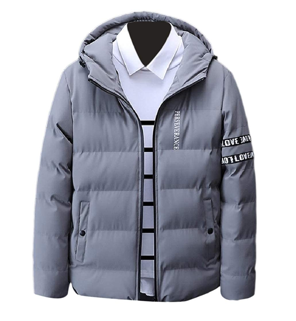 YUNY Men Big and Tall Thick Parka Jackets Zip Relaxed Overcoat Outerwear Grey 4XL