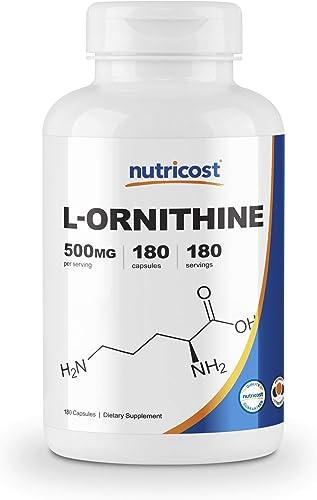 Nutricost L-Ornithine 500mg, 180 Capsules – Non-GMO and Gluten Free
