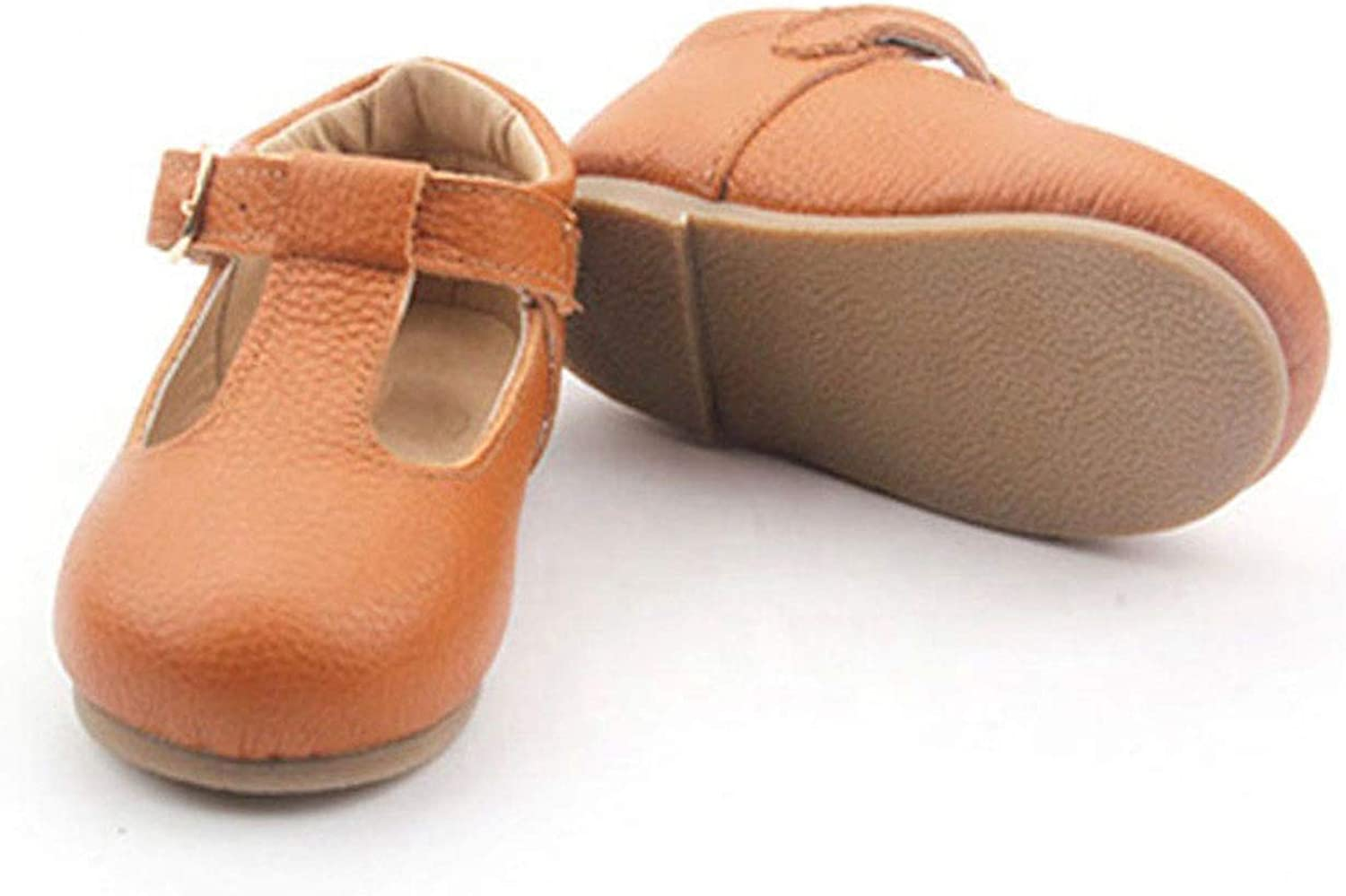 T-bar Strap with Genuine Leather Cognac Boutique Brown Girls Toddler Sandals Flats Mary Jane