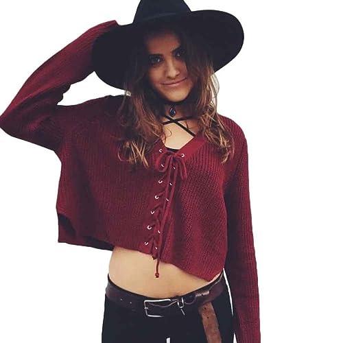FEITONG Las mujeres de manga larga Larga de punto suéter de la tapa Sudadera de cuello redondo floja ocasional 4 colores