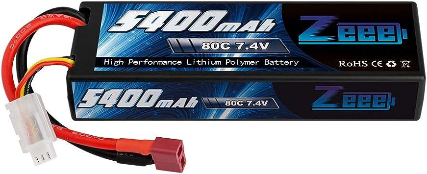 Zeee 7.4V 5400mAh 2S 80C Hard case Lipo Battery with Deans Plug for 1//8 1//10 RC Vehicles Car Traxxas Slash X-Maxx RC Buggy Truggy RC Airplane UAV Drone FPV