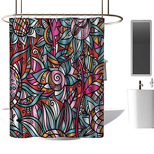 (coolteey Shower Curtains Heavy Weight Abstract,Colorful Florals Sunflower Mosaic Curl Ornaments Stained Glass Inspired Design,Multicolor,W55 x L84,Shower Curtain for Shower stall)