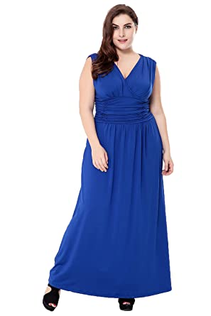 V.C.Formark Maxi Bothemian Dress V-Neck Ruched For Women Casual,Blue,L