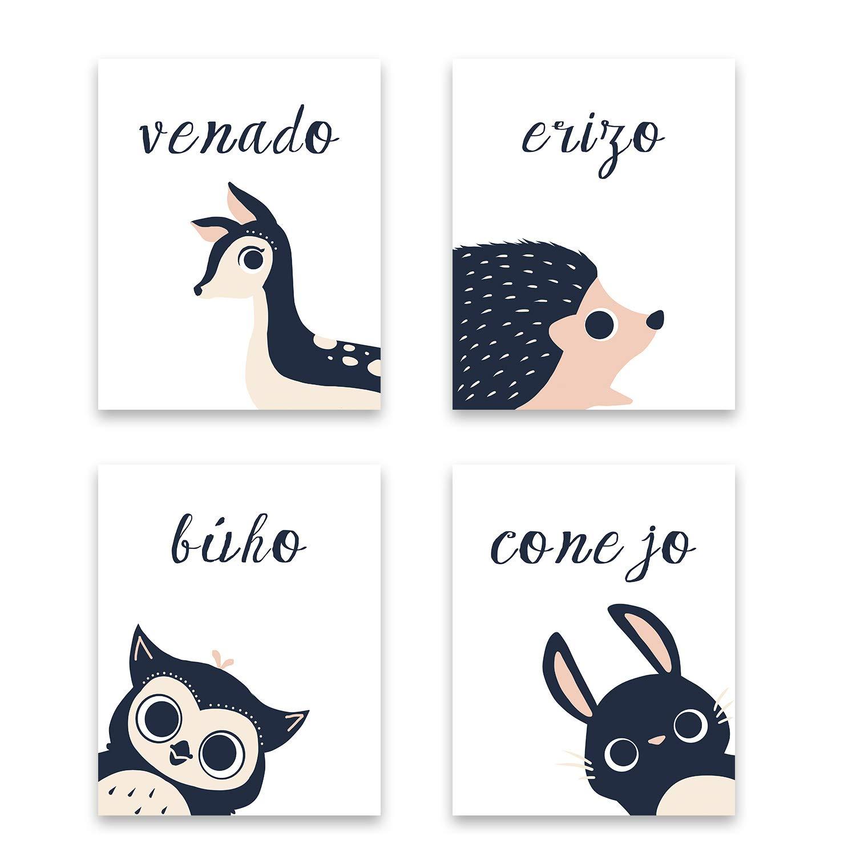 Peeking Animal Collection in Spanish,Children's Wall Art, Set of Four 11x14 Inch Print, Forest Nursery, Gender Neutral Nursery, Rabbit, Deer, Hedgehog, Animal's Decoration, Kids Room by Children Inspire Design