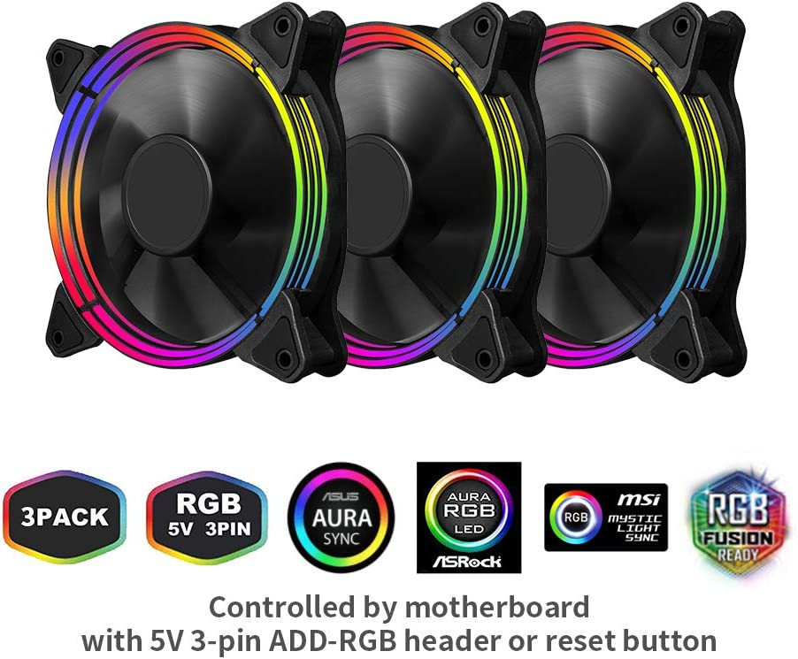 1STPLAYER 120mm RGB Case Fan G3 Combo, 5V 3PIN Motherboard Sync, Remote Control 16.8 Million Colors 18 Addressable LED Beads, Hydraulic Bearing Quiet, High Performance Speed, 3 Pack (120MM, Black)