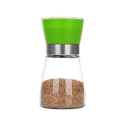 Espeedy Molinillo de aderezo,Molinillo de pimienta de sal molinillo de vidrio recipiente de especias