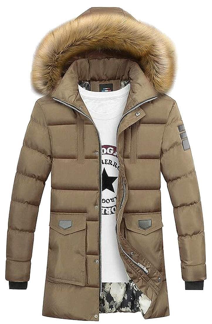 WSPLYSPJY Men Winter Outdoor Down Jacket Outwear Puffer Coats with Fax Fur Hoodie