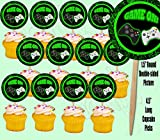 Game On Video Game Controller Cupcake Picks Double-sided Images Cake Topper -12, Video Game Truck Party Pixel Party
