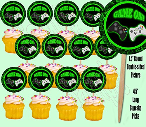 Game On Video Game Controller Cupcake Picks Double-sided Ima
