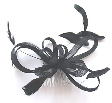 ELEGANT JET BLACK TULLE   FEATHER COMB FASCINATOR WEDDING PARTY RACES   Amazon.co.uk  Kitchen   Home a0e8439f038