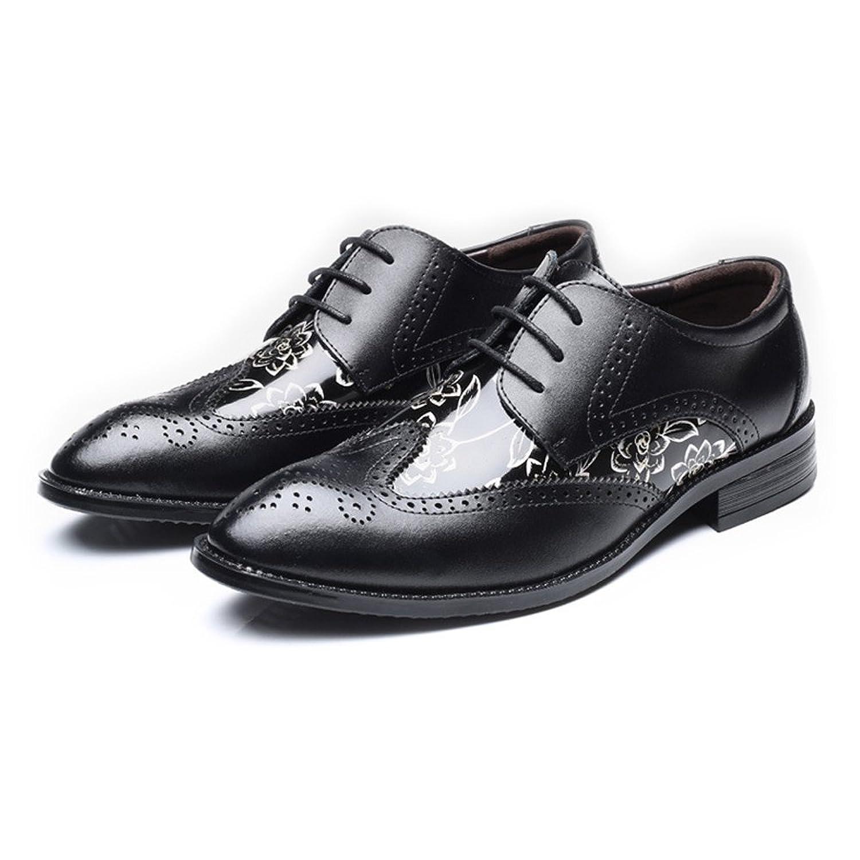 Yaojiaju Chaussures en Cuir Oxford, Chaussures en Cuir PU Texture Carrée jusqu'à Lacets Respirant Doublés pour Hommes (Couleur : Brown, Size : 37 EU)