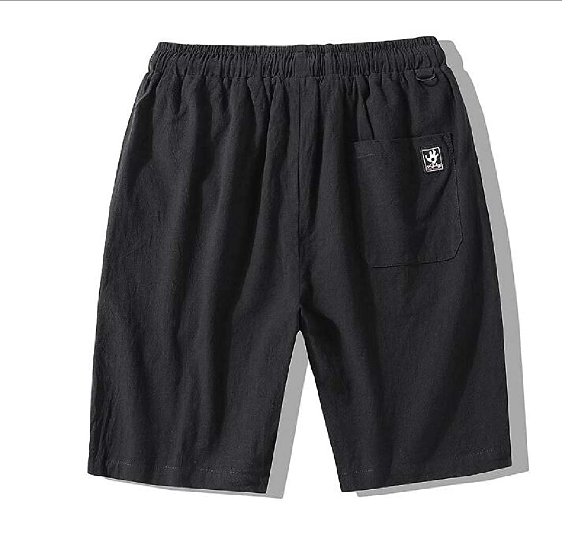 pipigo Men Casual Drawstring Straight Solid Big and Tall Short Pants