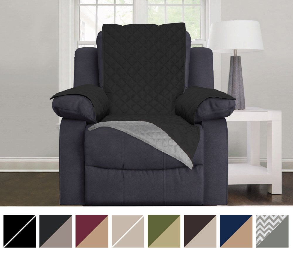 Awe Inspiring Details About Protective Quilted Reversible Recliner Furniture Oversize Chair Cover Gray Black Andrewgaddart Wooden Chair Designs For Living Room Andrewgaddartcom